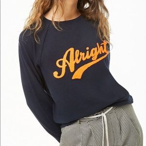 Forever 21 Navy Blue Alright Graphic Sweatshirt